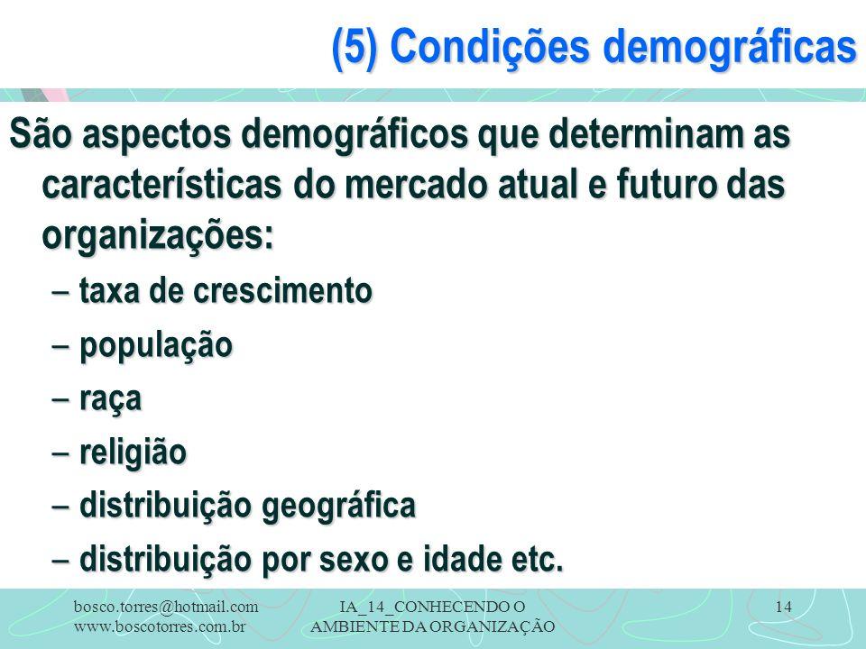(5) Condições demográficas