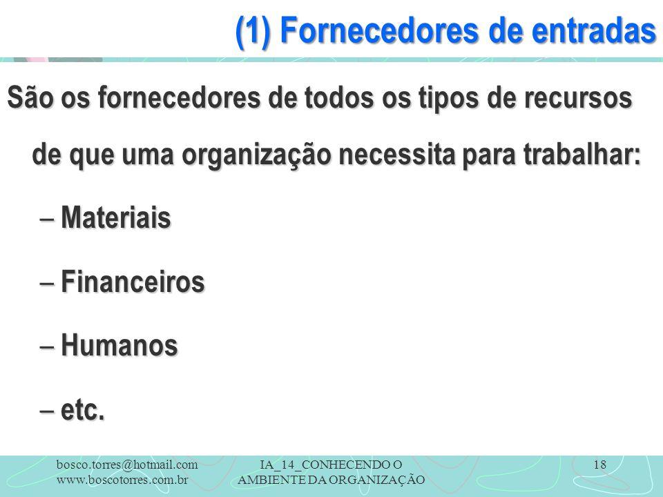 (1) Fornecedores de entradas