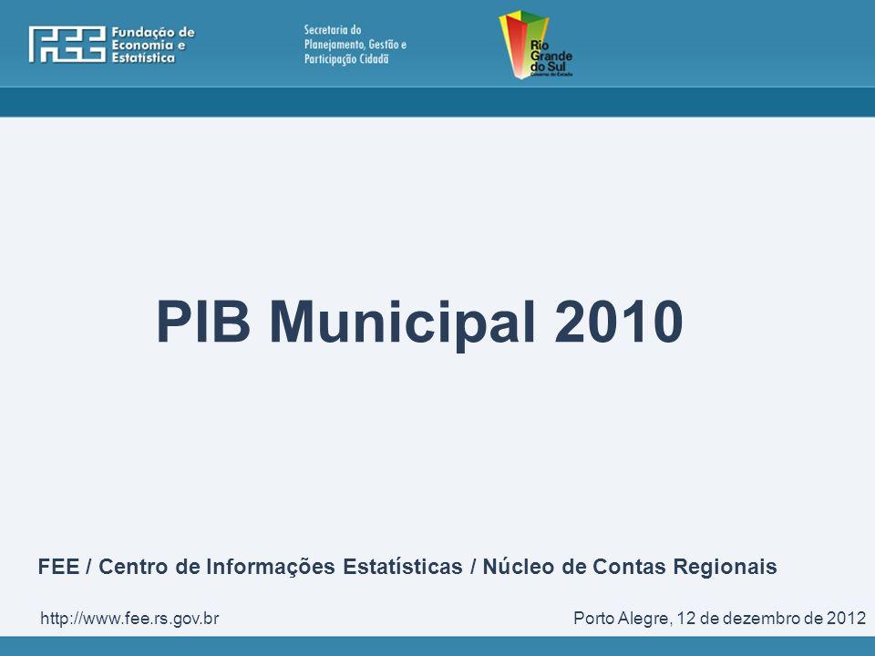 PIB Municipal 2010 FEE / Centro de Informações Estatísticas / Núcleo de Contas Regionais. http://www.fee.rs.gov.br.