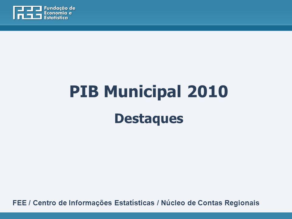 PIB Municipal 2010 Destaques