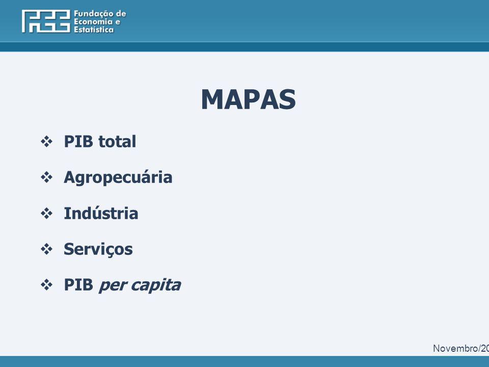 MAPAS PIB total Agropecuária Indústria Serviços PIB per capita