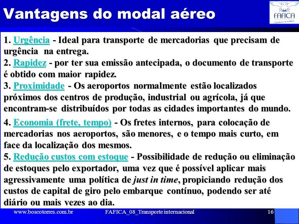 Vantagens do modal aéreo