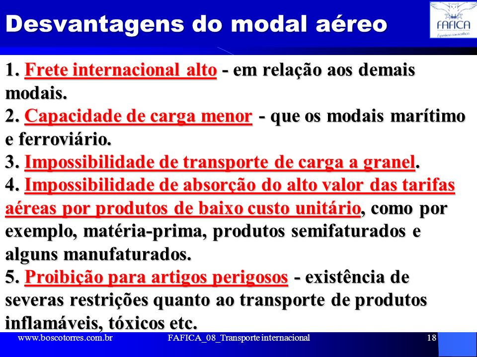 Desvantagens do modal aéreo