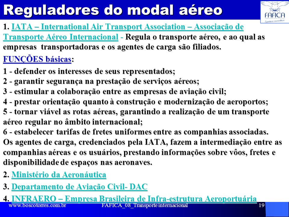 Reguladores do modal aéreo