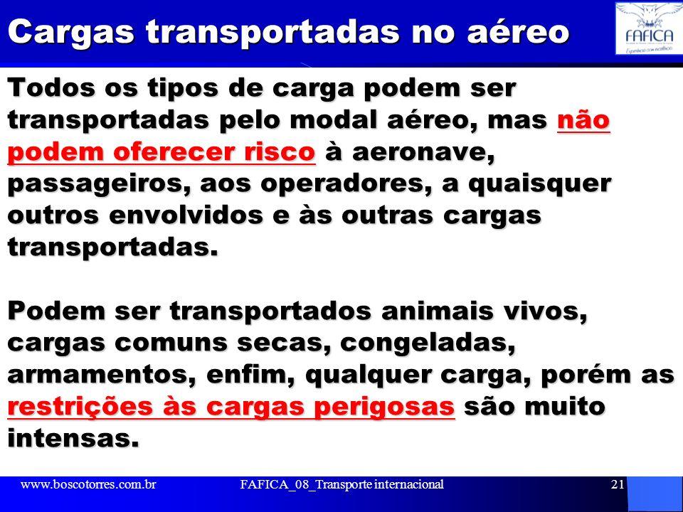 Cargas transportadas no aéreo