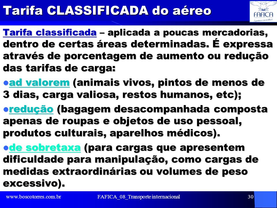 Tarifa CLASSIFICADA do aéreo