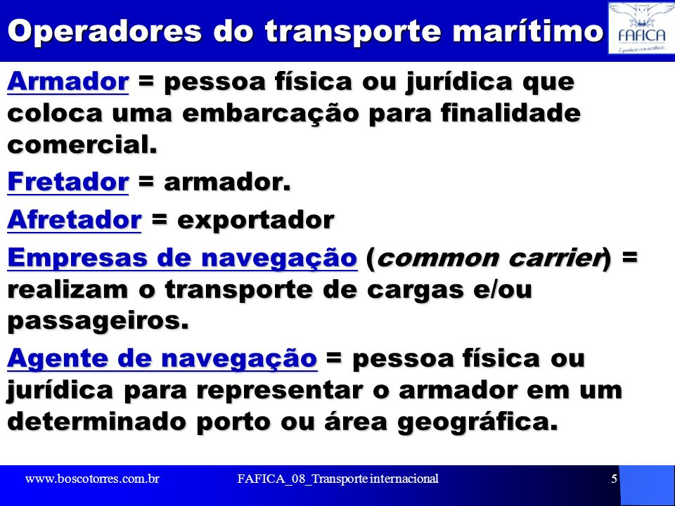 Operadores do transporte marítimo