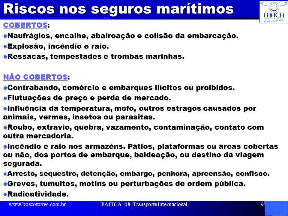 Riscos nos seguros marítimos