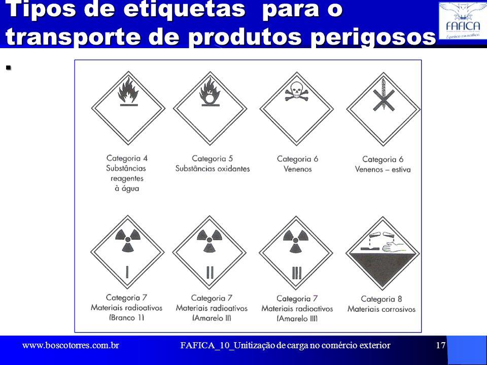 Tipos de etiquetas para o transporte de produtos perigosos