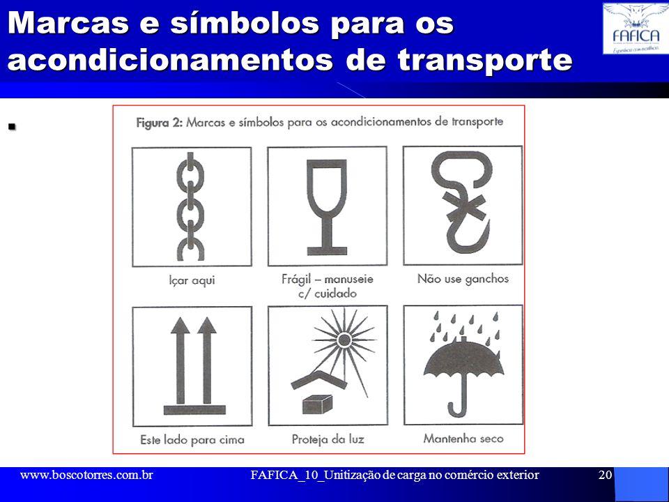 Marcas e símbolos para os acondicionamentos de transporte