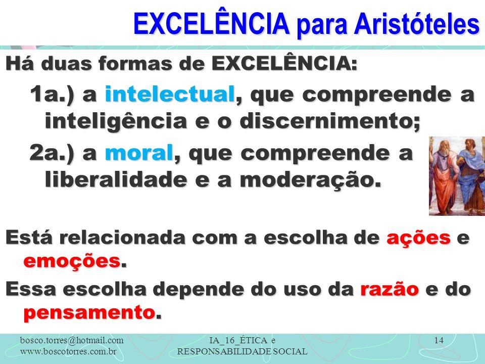 EXCELÊNCIA para Aristóteles