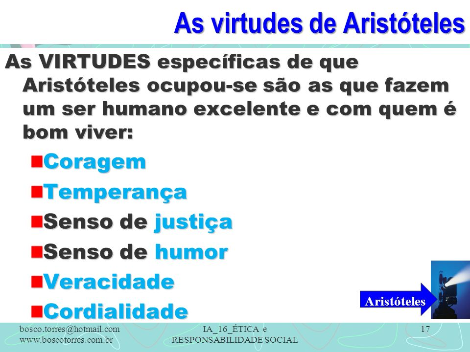 As virtudes de Aristóteles