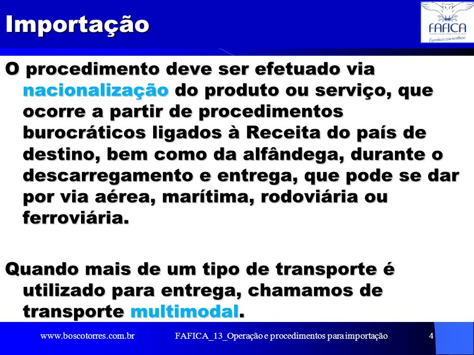 FAFICA_13_Operação e procedimentos para importação