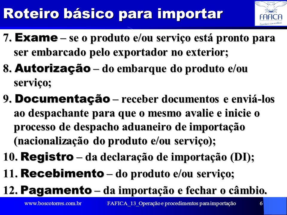 Roteiro básico para importar