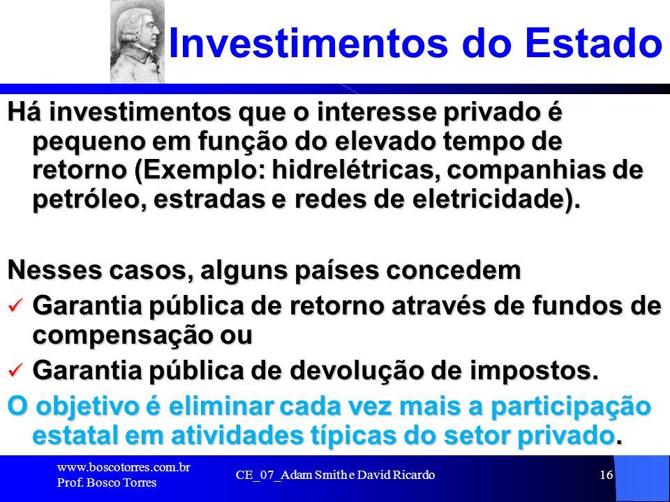 Investimentos do Estado