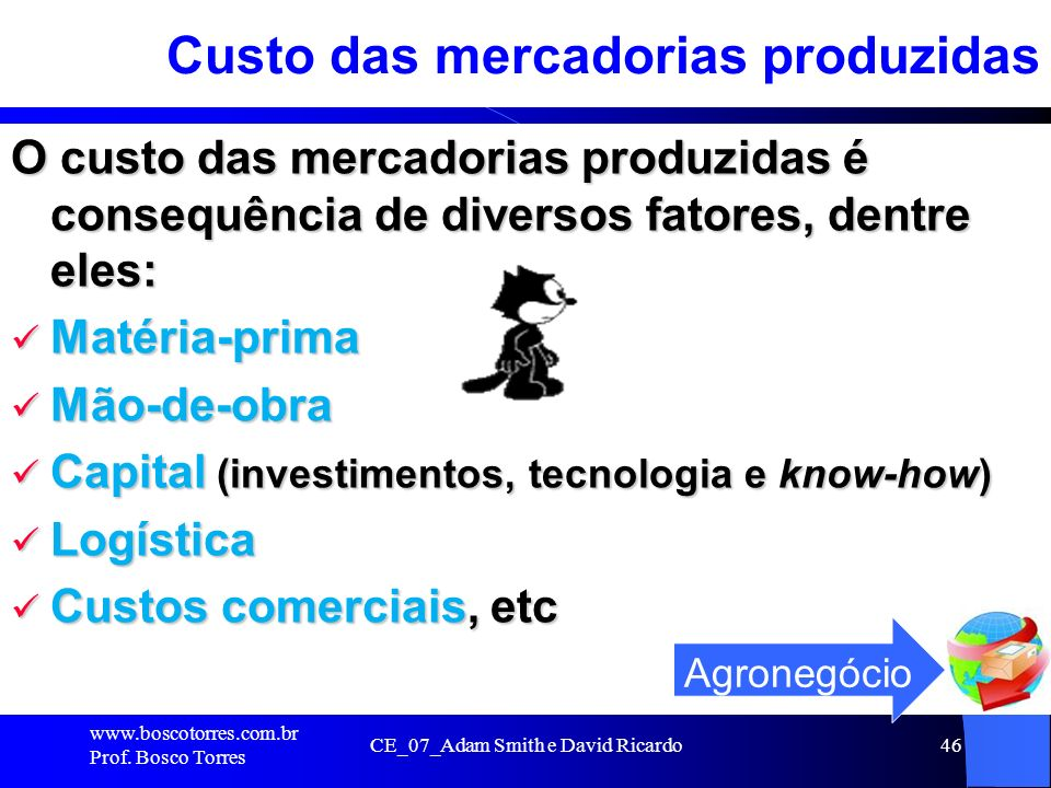 Custo das mercadorias produzidas