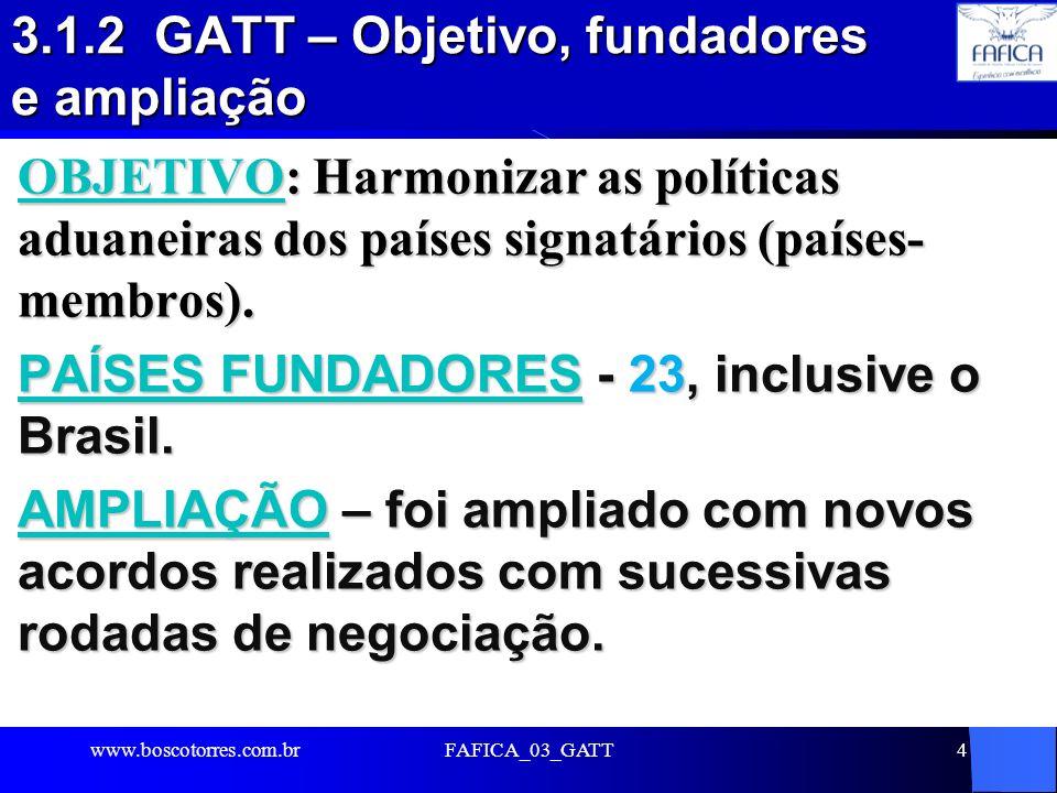 3.1.2 GATT – Objetivo, fundadores e ampliação