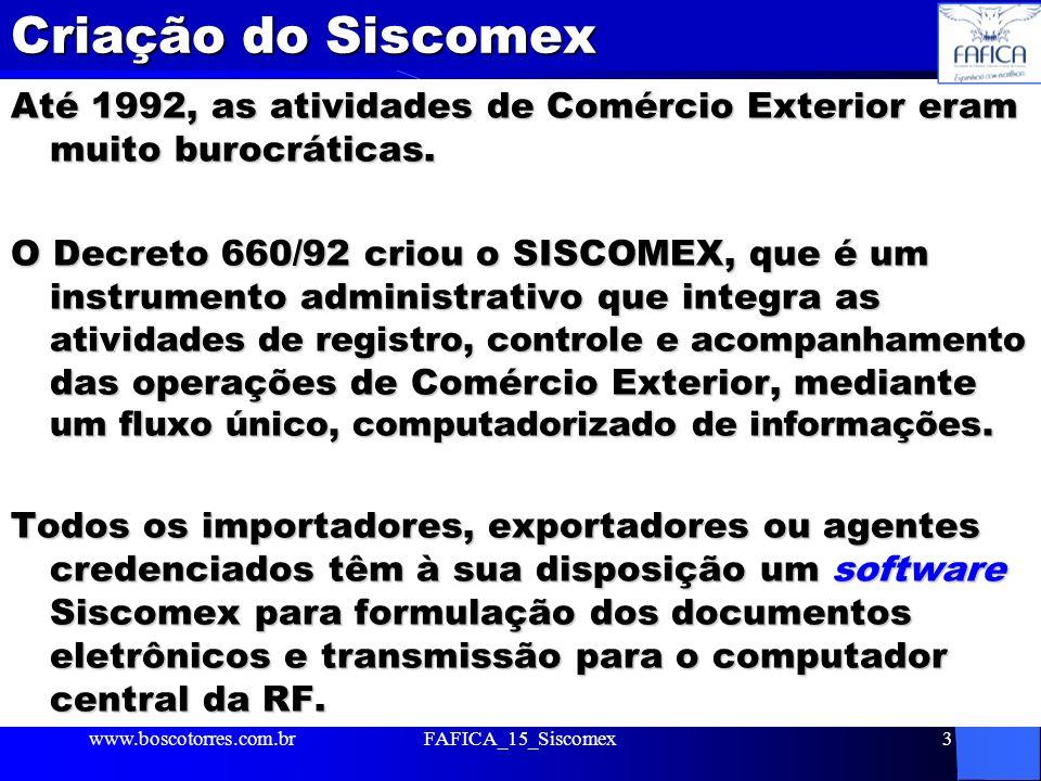 Criação do Siscomex