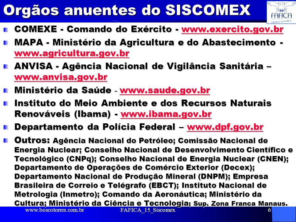 Orgãos anuentes do SISCOMEX