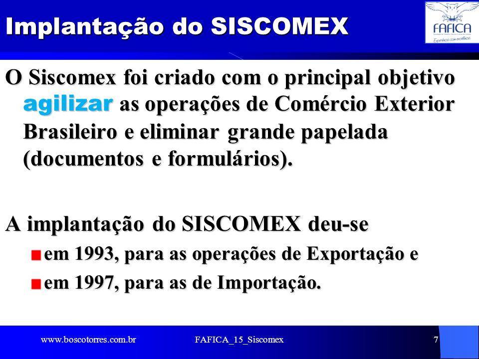 Implantação do SISCOMEX