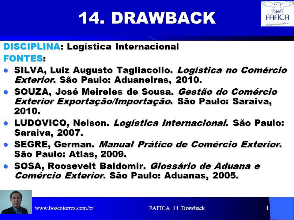 14. DRAWBACK DISCIPLINA: Logística Internacional FONTES: