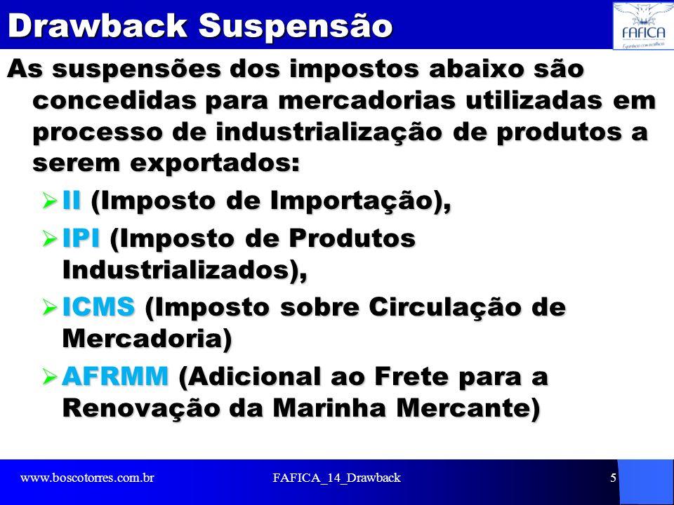 Drawback Suspensão