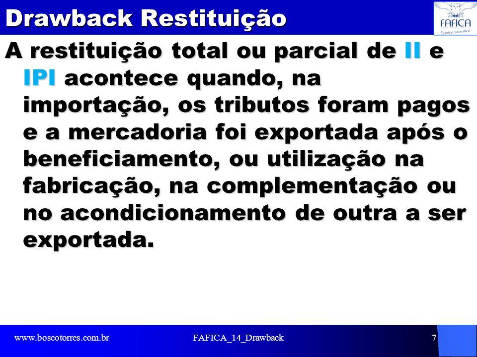 Drawback Restituição