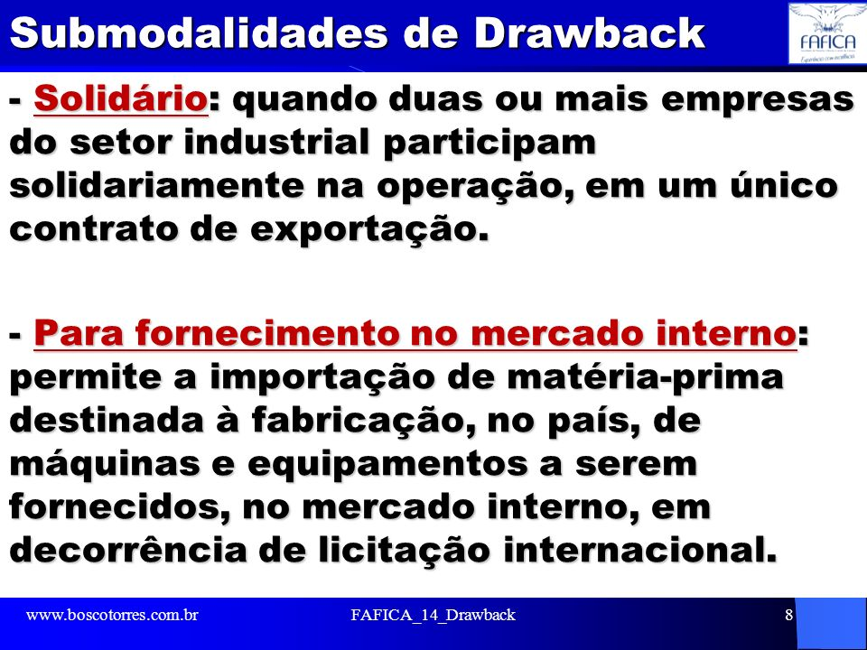 Submodalidades de Drawback