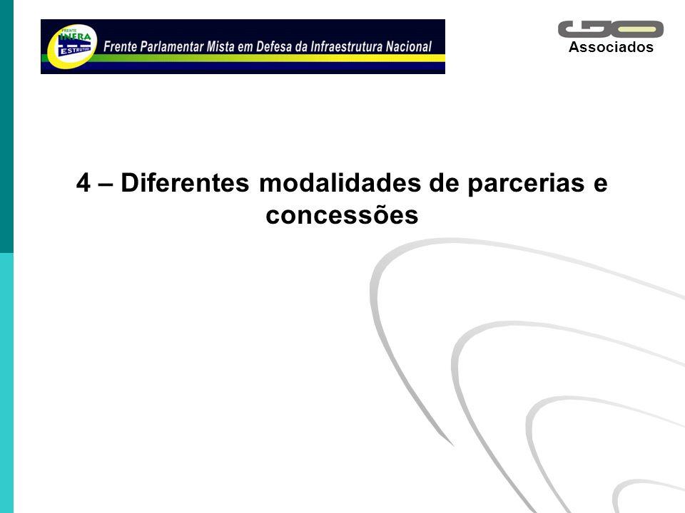 4 – Diferentes modalidades de parcerias e concessões