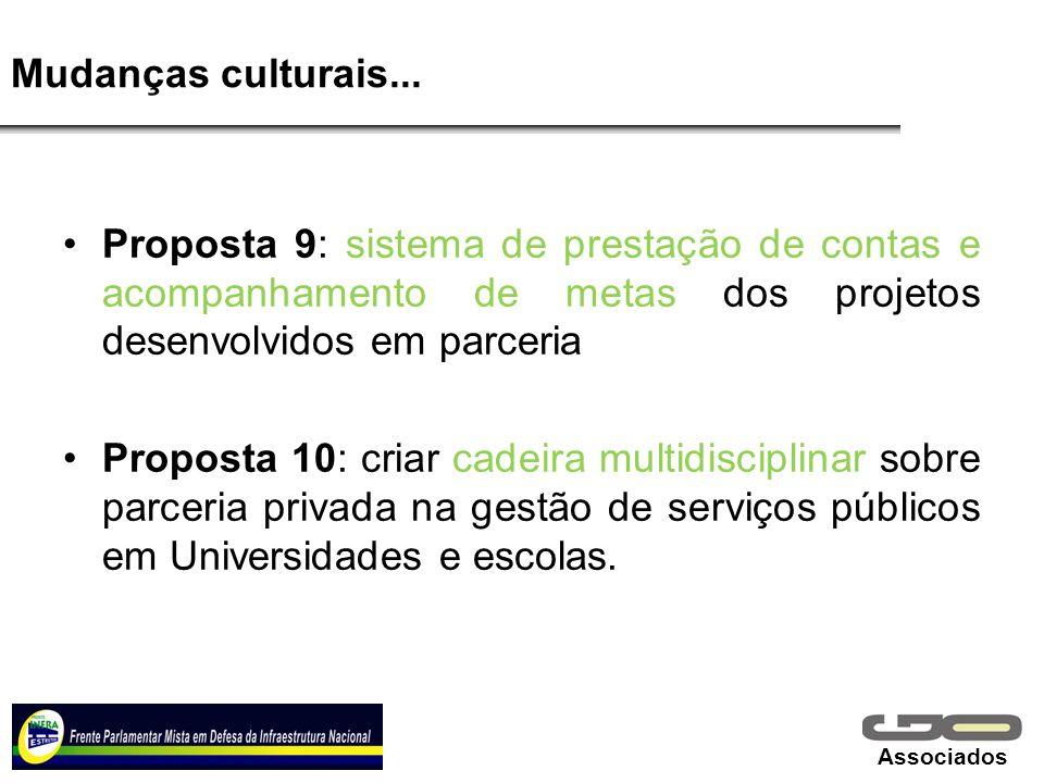 Mudanças culturais... Proposta 9: sistema de prestação de contas e acompanhamento de metas dos projetos desenvolvidos em parceria.