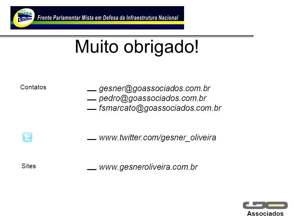 Muito obrigado! gesner@goassociados.com.br pedro@goassociados.com.br