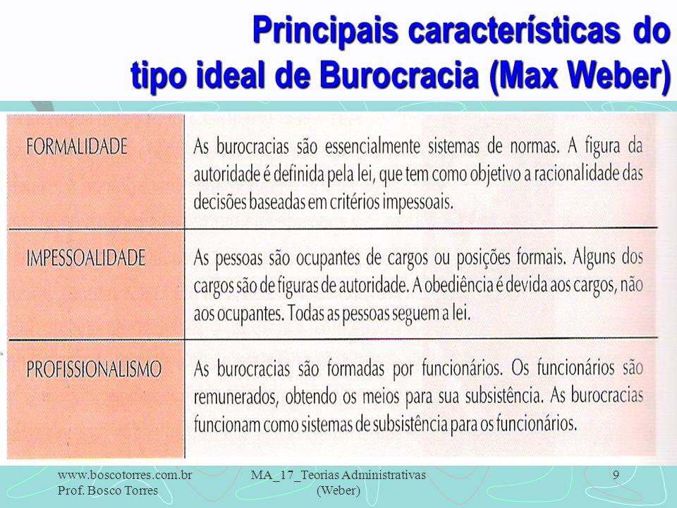 Principais características do tipo ideal de Burocracia (Max Weber)
