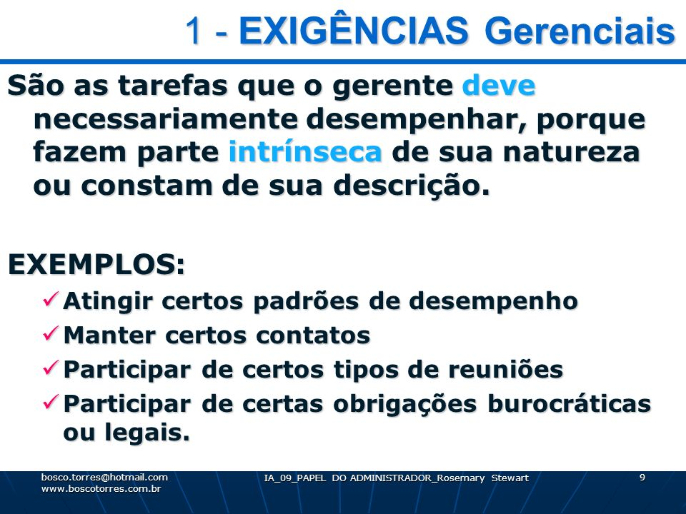 1 - EXIGÊNCIAS Gerenciais