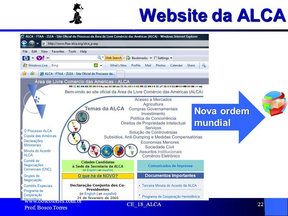 Website da ALCA . Nova ordem mundial