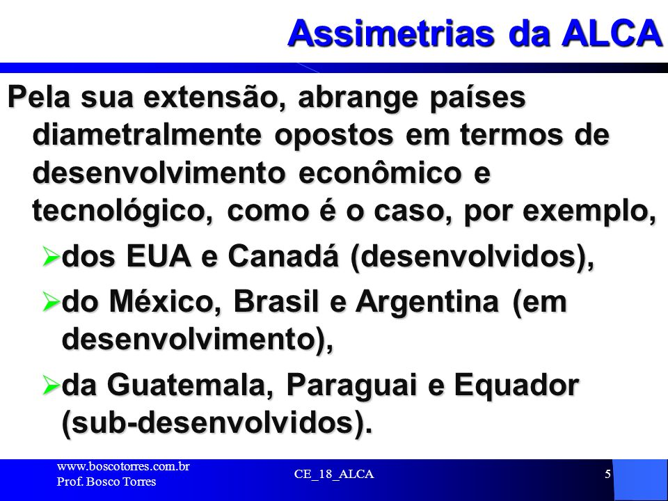Assimetrias da ALCA