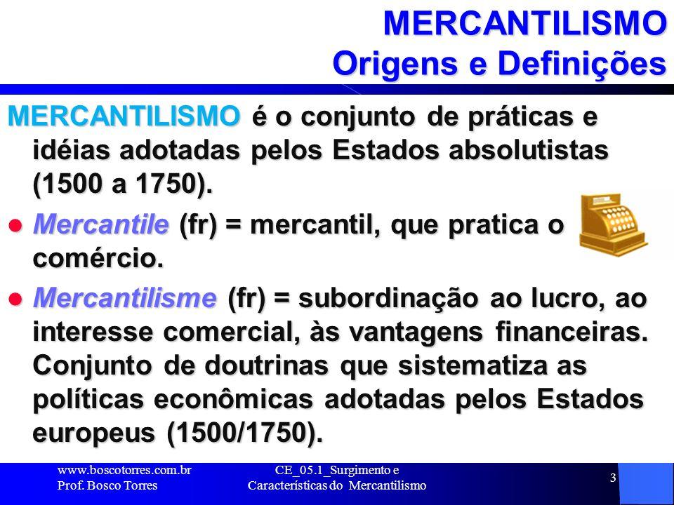 MERCANTILISMO Origens e Definições