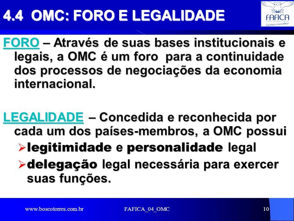 4.4 OMC: FORO E LEGALIDADE