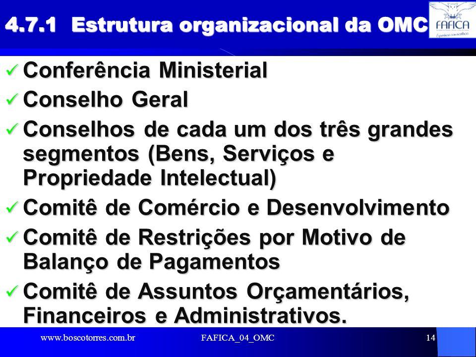 4.7.1 Estrutura organizacional da OMC