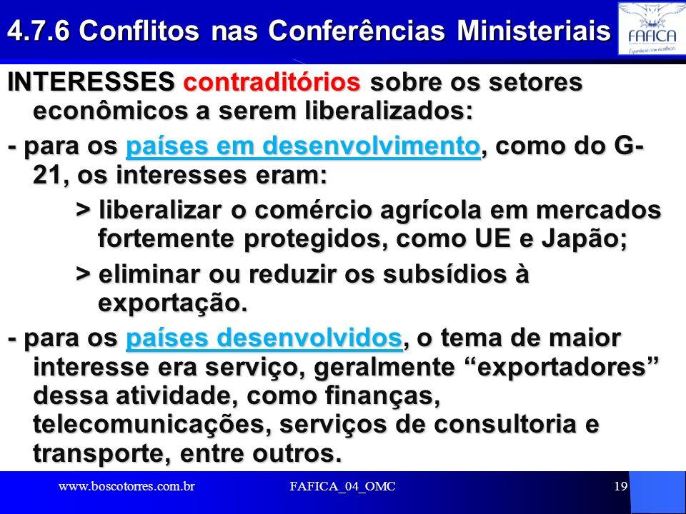 4.7.6 Conflitos nas Conferências Ministeriais