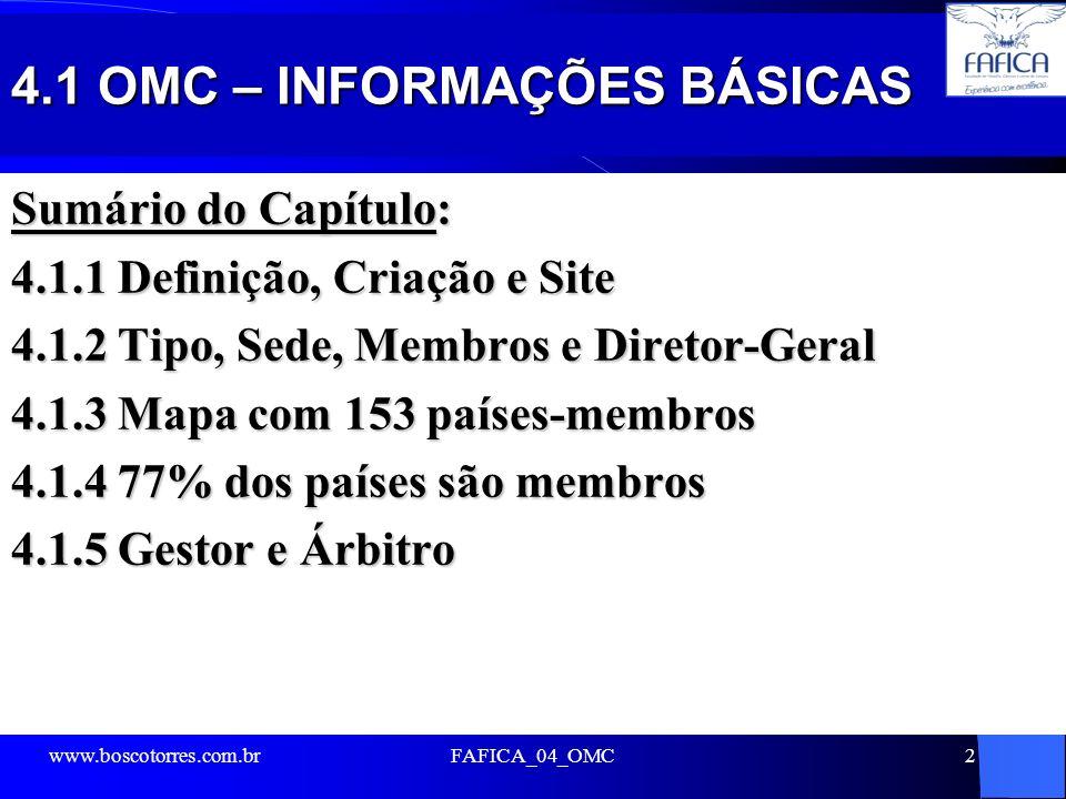 4.1 OMC – INFORMAÇÕES BÁSICAS
