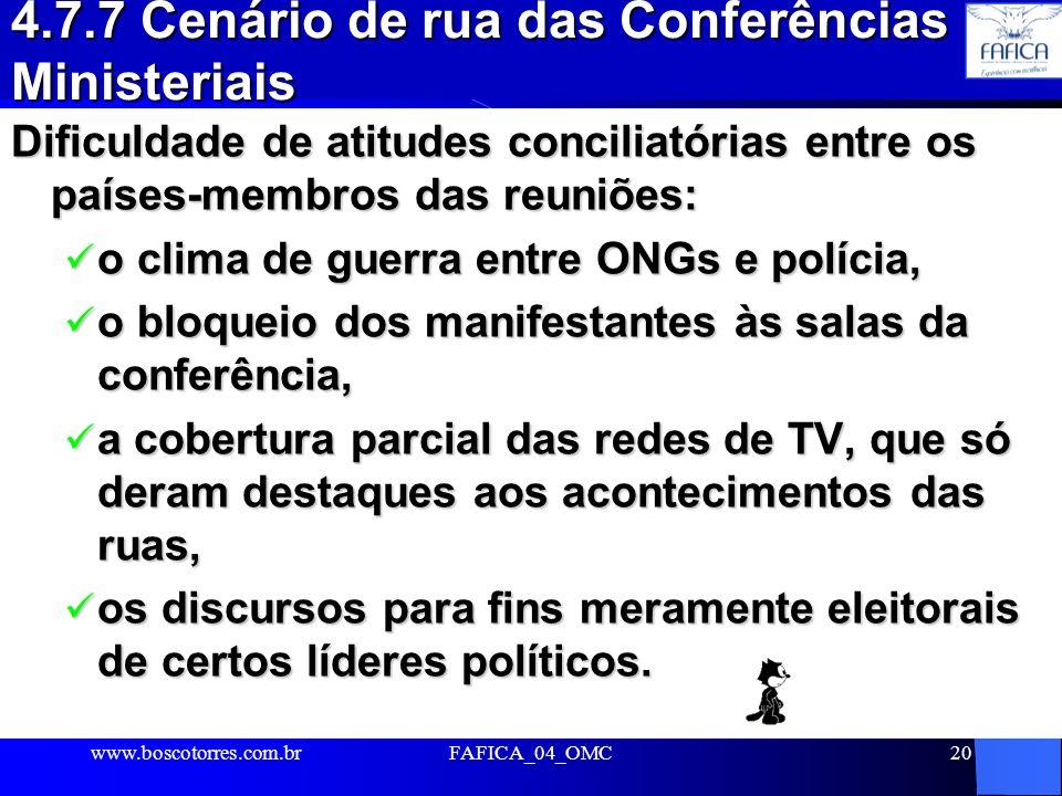 4.7.7 Cenário de rua das Conferências Ministeriais