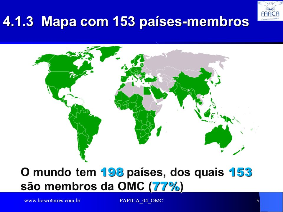 4.1.3 Mapa com 153 países-membros