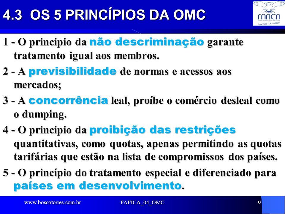 4.3 OS 5 PRINCÍPIOS DA OMC