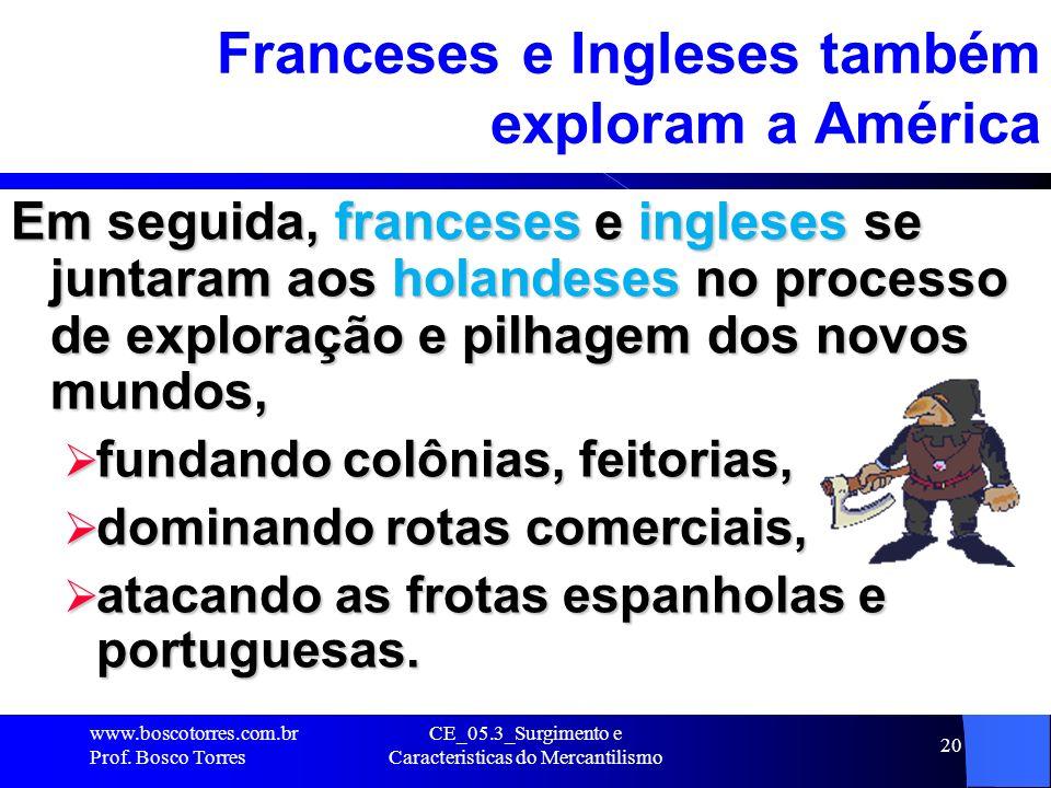 Franceses e Ingleses também exploram a América