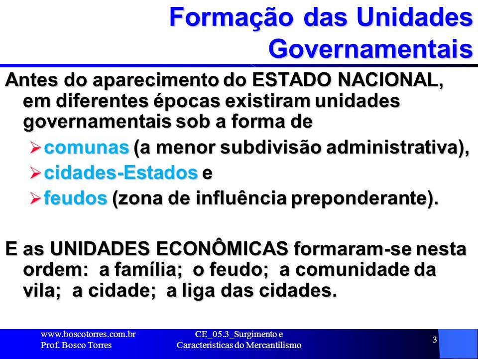 Formação das Unidades Governamentais