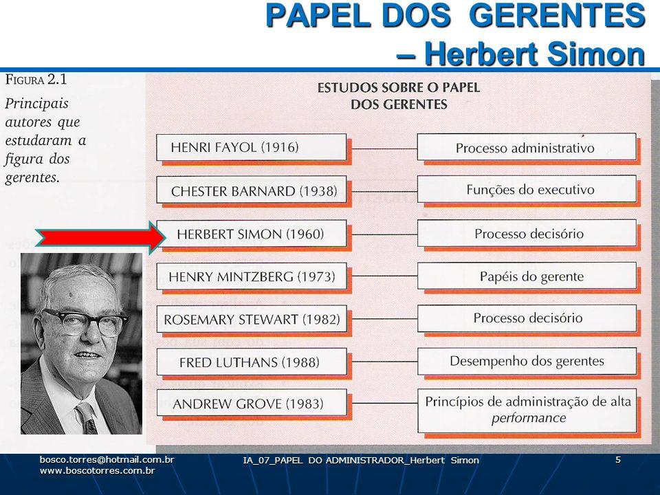 PAPEL DOS GERENTES – Herbert Simon