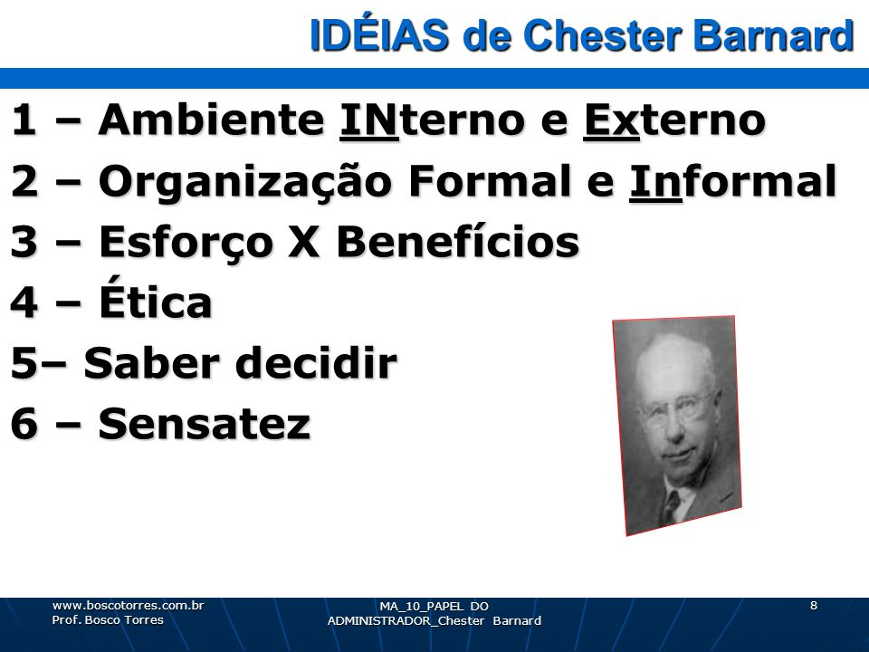 IDÉIAS de Chester Barnard