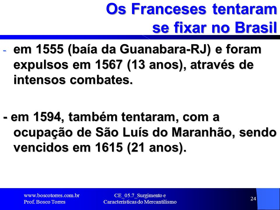 Os Franceses tentaram se fixar no Brasil