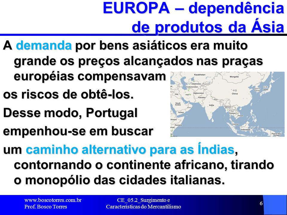 EUROPA – dependência de produtos da Ásia