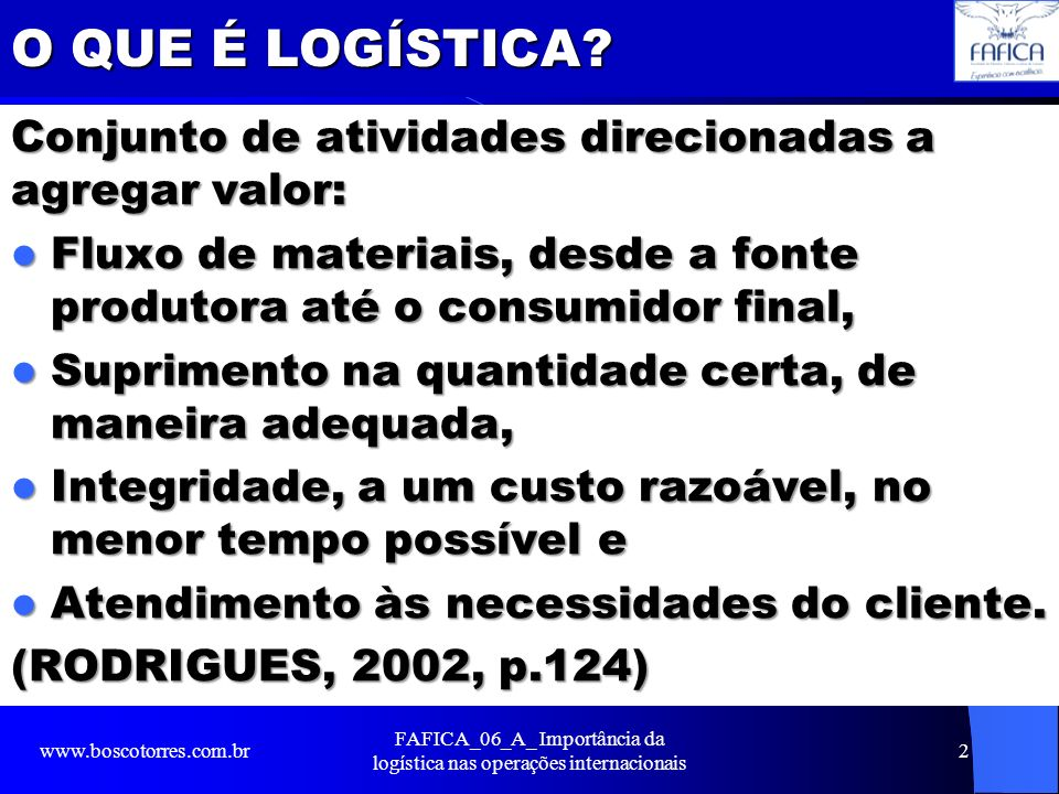 FAFICA_06_A_ Importância da logística nas operações internacionais